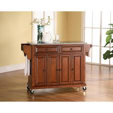 granite top cabinet. Wonderful Cabinet Crosley Cherry Kitchen Cart With Granite Top Intended Cabinet