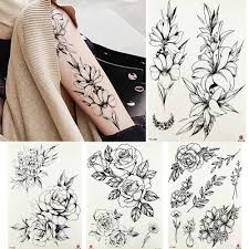 Black Fake Sketch Peony Tattoos Temporary Women Body Arm Legs Moon