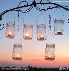hanging glass jars hanging garden lights 12 mason jar lantern hangers diy candle jar or