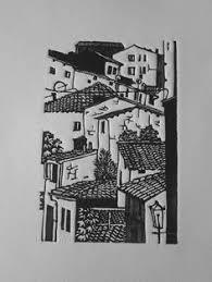 town drawing drawing with pen linocut prints woodcut art art prints