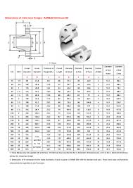 Dimensions Of Weld Neck Flanges Asme B16 5 A519 4130