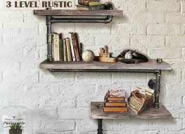 industrial pipe shelving bookshelf rustic modern wood