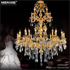 luxurious gold large crystal chandelier lamp crystal re light fixture 3 tiers 29 arms hotel lamp md3034 d1200mm h1450mm gold chandeliers gold crystal