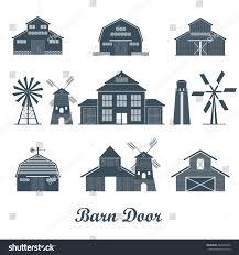 barn door farm building icon set