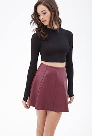 faux leather skater skirt burdy pleated leather mini skirt by forever 21