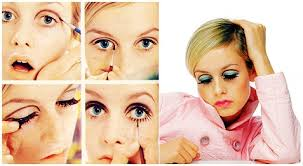 twiggy is the obvious poster for the 60 s with those unbelievably wide eyes and painted bottom lash look