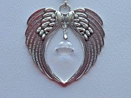 silver angel wings crystal car rear view mirror charm ornament mobile large angel wings