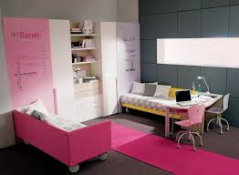 bedroom ideas for teenage girls pink and yellow. Pink Yellow Wooden Bed With Wheels Combined White Study Table Placed On The Gray Bedroom Ideas For Teenage Girls And E