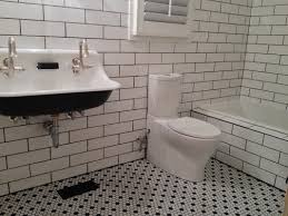 bathroom traditional red white tile