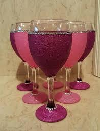 pink wine glass 6 glitter glasses kmart
