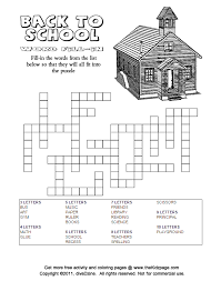 Back to School Word Fill-in Answers - Free Printable Learning ...