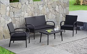 Carlota Furniture 4 Piece Wicker Rattan Patio Set with Detachable