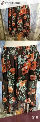 Joe Benbasset Xl Black Floral Print High Low Skirt Condition