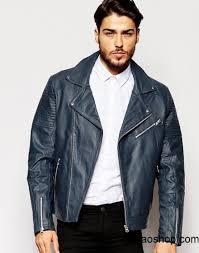 united states navy men asos leather biker jacket in blue us qzfh2900254