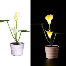 Flower Pot Light Us 10 08 27 Off Solar Led Flower Pot Light Calla Lily Flower Lights 2 Led Artificial Lily Pot Flower Bonsai Led Lamp Home Bedroom Desk Lamps In