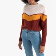 <b>Пуловер</b> с <b>круглым</b> вырезом colorblock разноцветный желтый <b>La</b> ...