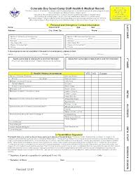 Personal Health Record Forms Personal Medical Record Form Template