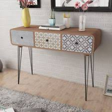 hallway console table. MDF Side Cabinet Console Table W/ 3 Drawer Steel Legs Hallway Display Desk Brown O