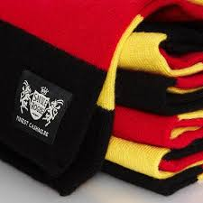savile rogue yellow black and red minibar cashmere rugby scarf