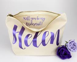 personalised bridesmaid gift make up bag will you be my bridesmaid maid of honour gift unique gift for bridal party bags makeup bags