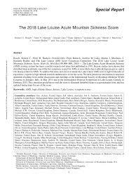 Pdf The 2018 Lake Louise Acute Mountain Sickness Score