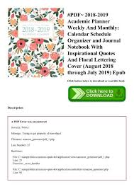 Monthly Calendar Notebook Pdf 2018 2019 Academic Planner Weekly And Monthly Calendar