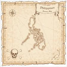 Philippines Old Pirate Map Sepia Engraved Template Of Treasure