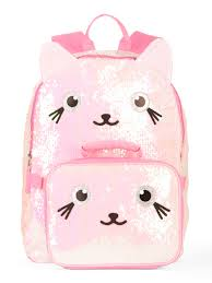s kitty 2 way sequin backpack with lunch bag