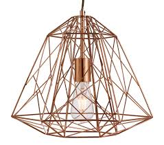 searchlight geometric cage 1 light pendant ceiling light copper finish with wire frame shade 7271cu