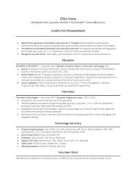 Sample Resume Computer Programmer No Experience New Coursework