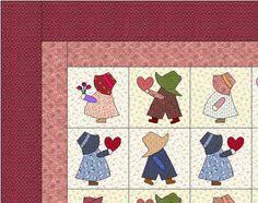 Sunbonnet Sue Quilt Blocks Vintage Reproductions Lot of 10 (8