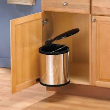 Kitchen Under Sink In Cabinet Trash Can Lid Waste Container Pivot