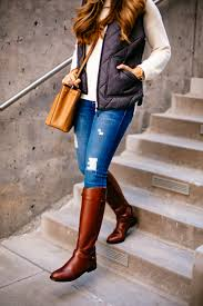 Quilted Vest & Riding Boots | The Teacher Diva: a Dallas Fashion ... & sweater and vest outfit Adamdwight.com