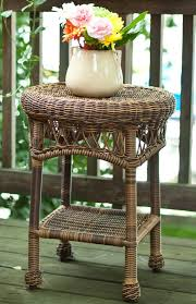 classic coastal avalon round wicker end table