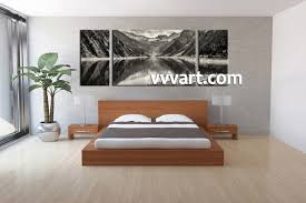 ... Pieces Black Canvas Wall Art For Bedrooms White Mountain Landscape  River Living Photography Wrapped Stunning Quality ...