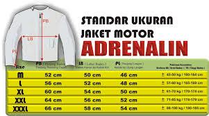 ukuran jaket motor adrenalin