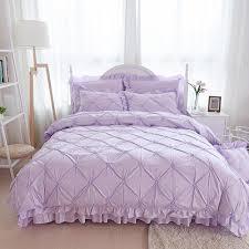 100 cotton purple princess bedding set luxury 4 6pcs pinch pleat quilt cover ruffle