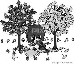 秋と女の子の可愛いイラスト 公園で演奏 のイラスト素材 30455665 Pixta