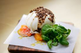 Burrata with clementine, coriander seeds and lavender honey at Nopi