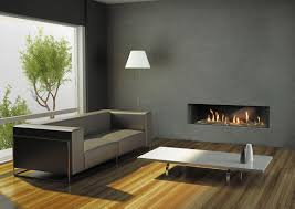 ... Engaging Home Interior Decoration With Long Gas Fireplace : Charming  Modern Grey Living Room Decoration Using ...
