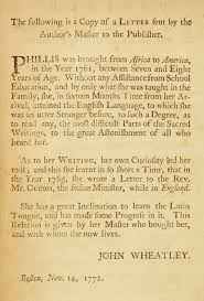 phillis wheatley an eighteenth century genius in bondage the  letter from john wheatley to the english publisher as featured in wheatley s poems on various subjects religious and moral 1773