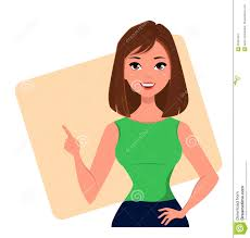 Young Cartoon Businesswoman Making Gesture Pointing Something
