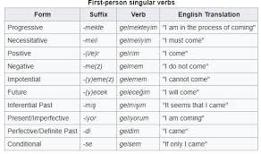 Whoever Made This Turkish Verb Conjugation Chart On