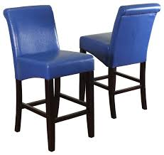 milan faux leather counter stools set of 2 blue