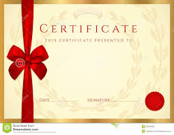 Congratulations Certificates Templates Certificate Diploma Template With Red Bow Stock Vector