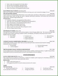 Dance Audition Resumes Dance Resume Examples For College Unique Dance Resume