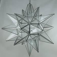moravian star pendant light clear glass silver frame 18
