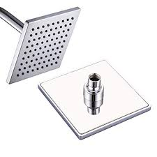 FATCAMEL 6-inch Square <b>Rain</b> Shower Head Stainless Steel Back ...