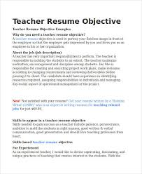 Teaching Resume Objectives Free Resume Templates 2018