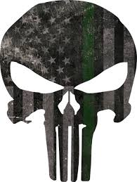 Punisher skull american flag federal agent green line decal. Distressed Thin Green Line American Flag Punisher Decal Sticker 111